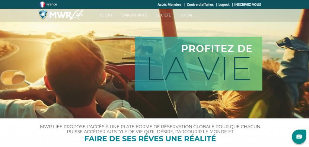 Page d'accueil du site de MWR Life