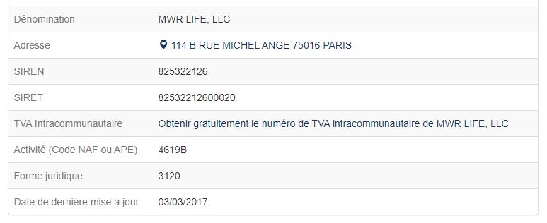 Informations légale de MWR Life